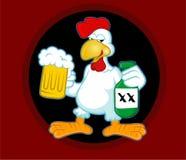 Vectores borrachos del estilo de la historieta del gallo del pollo fotografía de archivo