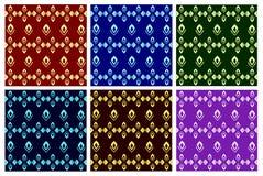 Vectores brillantes del sistema Modelo inconsútil hermoso en fondos oscuros coloreados ilustración del vector