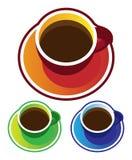 Vectores coloridos: opinión superior de las tazas de café Fotos de archivo
