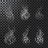 Vectores del humo en fondo transparente Imágenes de archivo libres de regalías