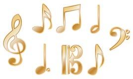 Vectores metálicos de la notación de música foto de archivo libre de regalías
