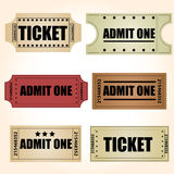 Vectores retros de los boletos Fotos de archivo