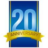 Vectoretiket voor 20ste verjaardag Royalty-vrije Stock Afbeelding