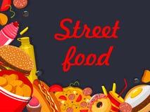 Vectorfastfood het restaurantaffiche van het straatvoedsel Stock Afbeelding