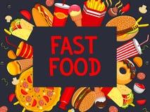 Vectorfastfood meaks en het menu van de snacksaffiche Stock Fotografie