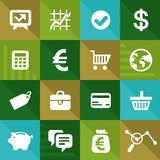 Vectorfinanciën en bedrijfspictogrammen in vlakke stijl Royalty-vrije Stock Foto's