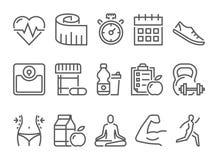 Vectorfitness gezondheid en sport geplaatste pictogrammen Royalty-vrije Stock Afbeelding