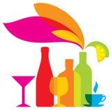 Vectorflessen gekleurd pictogram dranken stock illustratie