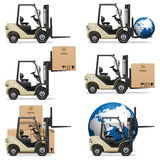 Vectorforklifts Stock Afbeelding