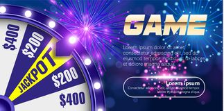 Vectorfortuinwiel, het Online concept van het casinoontwerp 3d voorwerp op samenvatting defocused cirkel blauwe bokehachtergrond royalty-vrije illustratie