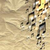 Vectorfoto realistisch verfrommeld blad van document met muzieknootachtergrond Royalty-vrije Stock Foto