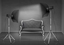 Vectorfotostudio met bank en softboxes royalty-vrije illustratie