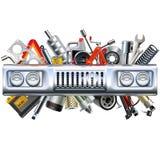 Vectorfront car part met Reserveonderdelen Stock Fotografie