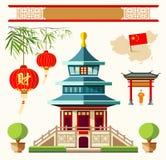 Vectorgebouwen van de stijlinzamelingen van China Stock Fotografie
