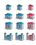 Vectorgebouwen van verschillende grootte Stock Afbeelding