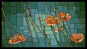 Vectorgebrandschilderd glasvenster met bloeiende oranje papavers met knoppen royalty-vrije illustratie