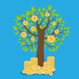Vectorgeldboom - symbool van succesvol bedrijfsconcept Stock Afbeelding