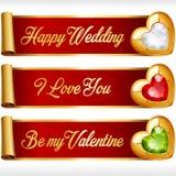 Vectorgem hearts en Rode geplaatst Linten horizontale Banners Royalty-vrije Stock Foto's
