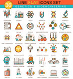 Vectorgenetica en biochemie het pictogramreeks van de technologie vlakke lijn Modern elegant stijlontwerp voor Web royalty-vrije illustratie