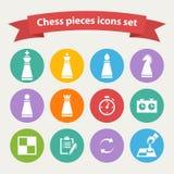 Vectorgeplaatste schaakstukken witte pictogrammen Stock Afbeeldingen