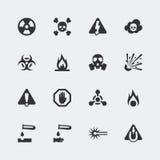 Vectorgevaar en gevaars geplaatste pictogrammen Royalty-vrije Stock Fotografie
