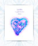Vectorgiftkaart met hand-drawn hart De dag van de gelukkige Valentijnskaart EPS10 Royalty-vrije Stock Foto's