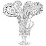 Vectorglas hete wijn in zentangle, krabbelstijl Getrokken hand Stock Foto's