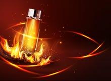 Vectorglasflesje op een donkere achtergrond in vlammen en rook Eleme Royalty-vrije Stock Foto's
