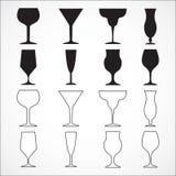 Vectorglaswijn op wit Stock Foto