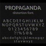 Vectorglitch alfabet Letter en getallen Glitchedlettersoort met lawaaiachtergrond Royalty-vrije Stock Afbeeldingen