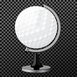 Vectorgolfbol Golfbol over transparante achtergrond wordt geïsoleerd die, Stock Afbeelding