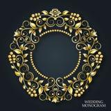 Vectorgouden bruiloftmonogram Luxueus decoratief kader De uitnodiging van het huwelijk Elegante lijnen van kalligrafisch ornament stock illustratie