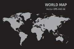 Vectorgray world-kaart op zwarte achtergrond Royalty-vrije Stock Afbeeldingen