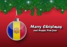 Vectorgrens van Kerstboomtakken en bal met Andorra F vector illustratie