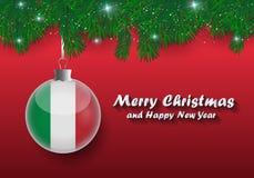 Vectorgrens van Kerstboomtakken en bal met fla van Italië royalty-vrije illustratie