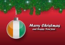 Vectorgrens van Kerstboomtakken en bal met kooi D iv royalty-vrije illustratie