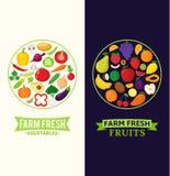 Vectorgroenten en vruchten kentekens Stock Foto