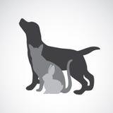 Vectorgroep huisdieren - Hond, kat, konijn Stock Afbeeldingen