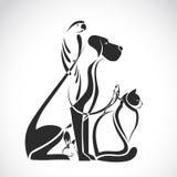 Vectorgroep huisdieren - Hond, kat, vogel, reptiel, konijn, Royalty-vrije Stock Foto