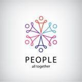 Vectorgroepswerk, sociale netto, mensen samen pictogram Royalty-vrije Stock Fotografie