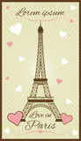 Vectorgroetkaart met de toren van Eiffel Stock Fotografie