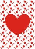 Vectorgroetkaart met rood hart, rode bloemen en witte achtergrond Royalty-vrije Stock Foto's