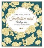 Vectorgroetkaart met rozen in uitstekende stijl Stock Fotografie
