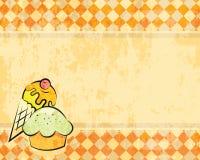 Vectorgrunge geruite achtergrond met dessert Stock Afbeeldingen