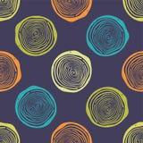 Vectorgrunge naadloos patroon met boomringen Stock Afbeeldingen