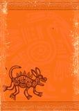 Vectorgrungeachtergrond met Indiaan traditioneel patroon stock illustratie