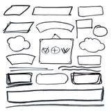 Vectorgrungekaders De hand getrokken elementen van het schetsontwerp Royalty-vrije Stock Afbeelding