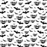 Vectorhalloween-patroon van zwarte spinnen en knuppels Royalty-vrije Stock Afbeelding
