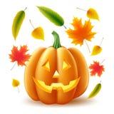 Vectorhalloween-pompoen, de herfstbladeren stock illustratie
