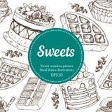 Vectorhand图画点心面包店例证 甜食物剪影无缝的样式 库存图片